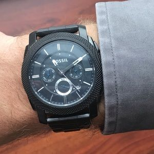 Mens black stainless steel Fossil watch